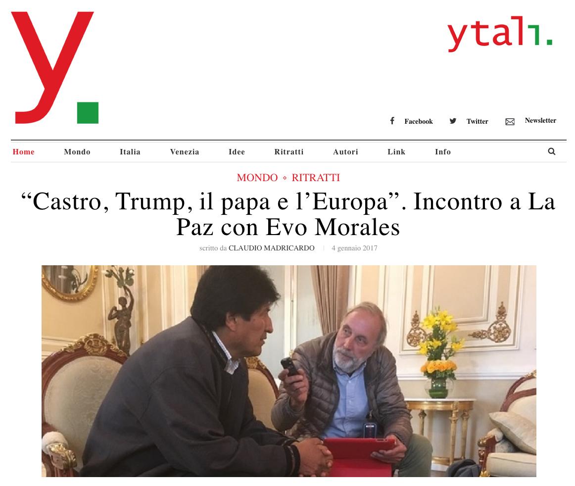 Screenshot Ytali, intervista a Evo Morales di Claudio Madricardo